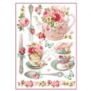 Stamperia - Rice Paper Sheet A4 - Floral Mugs & Teapots